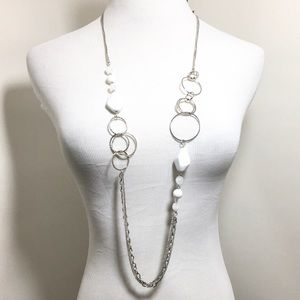 Very Long White Acrylic Silver Tone Necklace Set